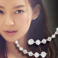 gümüş kulak cuff charm toptan satış-S925 Gümüş 7 Kristaller Klip-Ons Kadınlar Kızlar Takı Şık Paletli Küpe Lady Charm Kulak Manşet Düğün Hediye M872F için Küpeler