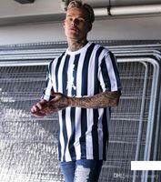 männerhemd-art und weisefotos großhandel-REAL PHOTO 2019 Art und Weise Striped Männer Designer-T-Shirt Quick Dry Männer-T-Shirt Short Sleeve Laufen T-Shirt Top Tees Tide Marke W