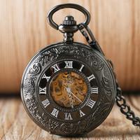 reloj steampunk mecánico negro al por mayor-atches Relojes de bolsillo Steb Reloj automático de bolsillo mecánico Steampunk Negro Fresco Lujo Elegante Vintage Tallado Reloj de cadena Fob Retro Fas ...