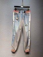 mezclilla de yoga al por mayor-2019 nuevo diseñador para hombre Denim Stitchin pantalones de chándal pantalones de chándal de diseñador pantalones de tamaño chino ~ tops pantalones de chándal de yoga para hombre pantalones de chándal de chándal