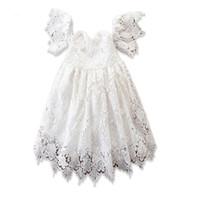 цветок девушка платья белые с плеча оптовых-Девочки кружева с плеча принцессы платья 2-6 т дети белое платье девушки цветка для партии бальное платье шоу