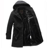 venta de chaquetas de lana para hombre al por mayor-Venta caliente Abrigo de lana de invierno hombres secciones largas gruesas abrigos de lana para hombre Chaqueta Casual casaco masculino palto chaquetón abrigo