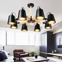 holzlampen großhandel-Mode bunte moderne Holz Deckenleuchten Lamparas minimalistisches Design Schatten Leuchte Esszimmer Lichter Deckenleuchte