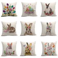 Wholesale flower cushions online - 9styles Easter Rabbit pillow case Cushion Cover egg flower print Pillow Cover Sofa Nap Cushion Covers Home Decoration cm FFA1651