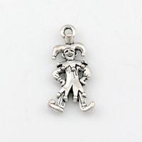 clowns halsketten großhandel-Clown Charms Anhänger Legierung Schmuck DIY Fit Armbänder Halskette Ohrringe 100 Teile / los Antik Silber 12x24mm A-487