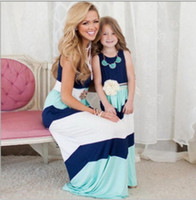 Wholesale mommy daughter clothing matching online - Summer Mommy and me family matching mother daughter dresses clothes striped mom dress sleeveless cotton long skirts