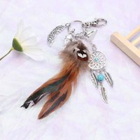 encanto de piedra opal al por mayor-Piedra de ópalo natural atrapasueños llavero bolsa encanto moda plata boho joyería llavero de plumas para las mujeres