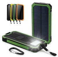 çift güneş enerjisi bankası toptan satış-Evrensel 20000 mah Su Geçirmez güneş Enerjisi Bankası Harici Akü şarj Çift USB Powerbank Taşınabilir telefon Şarj iphone 8 XS max Xiaomi