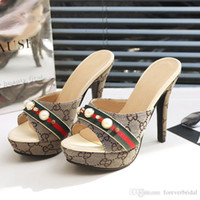 Wholesale 5.5 shoes resale online - Summer Women Designer High Heel Slides Open Toe Pu Leather High Platform Sandals Shoes Ladies Luxury Fashion Slippers Sandals