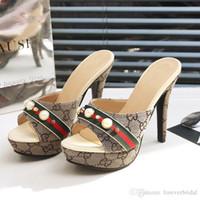 pantoufles à bout ouvert achat en gros de-Été Femmes Designer Haut Talon Diapositives Ouvert Toe Pu En Cuir Haute Plate-Forme Sandales Chaussures Dames De Luxe De Mode Pantoufles Sandales