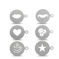 stahlschablone großhandel-6 Teile / satz Edelstahl Kaffee Schablone Kaffeemaschine Latte Art Mold Template Schokolade Cappuccino Barista Werkzeug