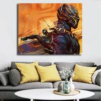 ingrosso immagine di arte nera per salotto-Marvel Black Panther Poster Yann Dalon Tela Pittura Stampa Soggiorno Home Decor Moderna Arte della parete Pittura ad olio Salon immagini