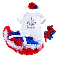 Wholesale babies shoes ruffles for sale - Group buy Retail girls boutique outfits summer skirt sets years baby short sleeve cartoon romper ruffle skirt headband shoes designer clothes