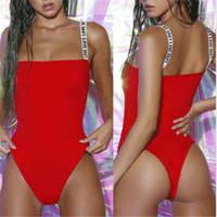 kadın tek parça bodysuit toptan satış-Seksi One Piece Mayo Kadınlar 2019 Harf Omuz Kayışı Mayo Kadınlar Yaz Kırmızı Plaj Mayo Kadın yüzün Thong Bodysuit