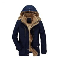 ingrosso windbreaker di cotone da uomo-2017 giacca di cotone da uomo caldo inverno giacca calda spessa Plus velluto lungo tratto casual cappuccio da uomo cappotto caldo soprabito giacca a vento