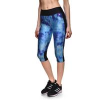 12a25cf5b1 Galaxy Star Pattern Stampa Push Up Sportivo sportivo Capril Pantaloni  Estate Moda blu vita alta Leggings allenamento traspirante