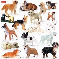 ingrosso animali da miniera giocattolo-mucchio Action Toy Figure Oenux Lovely Pet Dog Animals Modello Action Figure Boxer Bulldog Dalmata Figurine Cute Miniature Collectio