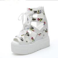 yeni yaz ayakkabıları toptan satış-Kadın Sandalet Yaz Yeni Moda Platformu Sandalet Takozlar Kalın Alt Rahat Kadın Ayakkabı Yüksek Topuklu Sandalias