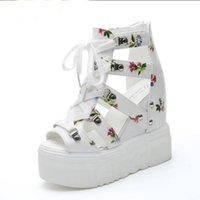 plataforma de calçados casuais venda por atacado-Mulher Sandálias Verão Nova Moda Plataforma Sandálias Cunhas Fundo Grosso Sapatos Casuais Mulheres Sapatos De Salto Alto Sandalias
