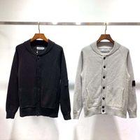 schwarze strickjacke aus baumwolle großhandel-Marke Männer Pullover Modedesigner Bestickte Männer Wilde Bluse Streetwear Schwarz Grau Baumwollknopf Rundhals Strickjacke Pullover