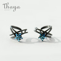 Wholesale tracking earrings resale online - Thaya Star Track Vintage Ear Clip S925 Sterling Silver Wrap Ear Cuff Earrings Without Piercing For Women Jewelry Black Punk Y19052401
