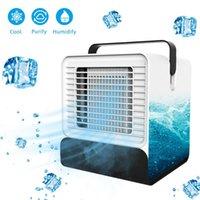 tragbare hausklimaanlagen großhandel-USB Mini Tragbare Klimaanlage Luftbefeuchter Luftreiniger 7 Farben Licht Desktop Luftkühlventilator Luftkühlventilator für Office Home
