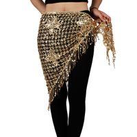 göbek dansı eşarpları toptan satış-Oryantal Dans Kalça Eşarp-Pullu Kalça Etek Kemer Mısır Oryantal Dans Wrap Kemer Kostüm Üçgen Şal Püskül Sıcak Sahne Giyim 10 renkler