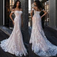 Wholesale sexy wedding dresses for sale - 2019 Berta Off the Shoulder Mermaid Wedding Dresses Long Appliques Lace Up Back Castle vestido de novia Beach Bridal Gowns