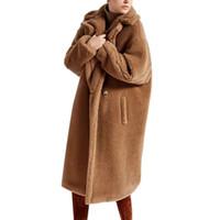 abrigo de piel marrón de las mujeres al por mayor-Abrigo de invierno la piel de imitación del oso de Brown chaquetas de lana de las mujeres de moda chaqueta invierno Fuzzy grueso abrigo larga caliente Parka Mujer