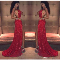 Wholesale blue halter long evening dresses resale online - Sexy Red Sequins Mermaid Prom Dresses Long Thigh High Slits Spaghetti Straps Backless African Black Girl Formal Evening Gowns Ogstuff