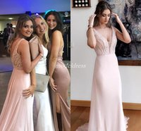 Wholesale exquisite mermaid beaded prom resale online - Exquisite Pink Arabic Prom Dresses V Neck Backless Sweep Train Chiffon Beads Appliques Long Formal Evening Party Gowns Plus Size
