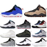 çelik ayakkabılar toptan satış-Nike air jordan retro 10 10s Çimento erkek Basketbol Ayakkabıları 10 Westbrook çelik gri ben geri döndüm Lazer Mavi yeni erkek spor ayakkabı eğitmenler 7-13
