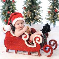 bonecos de crochet vermelho recém-nascidos venda por atacado-Costumes Fotografia recém-nascido Props Natal do bebê Crochet Red Stripe Pants Inverno Cap Hat Set para Photo Shooting Acessórios 920X20