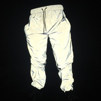 hosen jogger schweißhose harem großhandel-2019 neue männer reflektierende hip hop licht glänzende hose männliche streetwear jogger jogginghose herbst lose harem hose a9053
