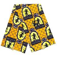 patrones de batik africano al por mayor-Corona de lujo y patrón de león estampados de cera africana tela de cera verdadera para el vestido 100% algodón batik tela 6 yardas / lote SP029