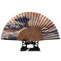 fan bağları toptan satış-Gerçek Ipek El Fan Fuji Dağı Kanagawa Dalgalar Japon Katlama Fan Cep Noel Dekorasyon Düğün Favor