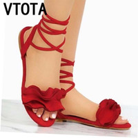 пуш плюс обувь оптовых-VTOTA Ankle Strap Flat Ruffle Sandals Shoes Lace Up Women Flower Beach Sandals Sandalia Feminina Chaussure Femme Plus Size 43