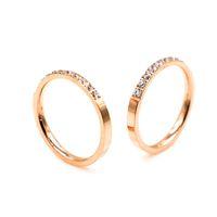 Wholesale semi bezel ring resale online - Slassic Sleek minimalist Semi circle zircon gold Couple ring for women Fashion brand designer classic jewelry for women