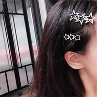 ingrosso clip di capelli della stella del rhinestone-AOMU Corea Hollow Star Hair Clips per le donne Rhinestones di cristallo Pentagram Tornante Accessori per capelli da sposa Hairgrip