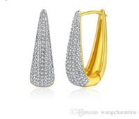 Wholesale zircon copper hoop earrings for sale - Pave setting zircon earrings k gold plated Jewelry white gold plated U style earrings for party girl good quality luxurious women Jewelry