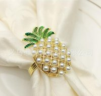 Wholesale western diamond rings for sale - Group buy Western restaurant hotel tableware pearl pineapple napkin buckle napkin ring with diamond napkin ring towel buckle cloth ring