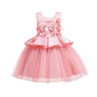 vestidos de princesa americana para niños pequeños al por mayor-12 años de Baby Girl Princess Dress Kids Raya Vestidos Sin Mangas Para Niños Pequeños Ropa de Moda Americana Europea J190620