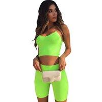 chándales a juego al por mayor-Correas espaguetis a juego Verano Bodycon Fitness Fluorescente Chándal Mujeres Shorts Set Deportes Casual Moda Sexy de dos piezas