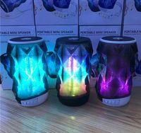glühender kristall führte großhandel-T2323A Drahtlose Lautsprecher Bluetooth Mini Kristall Glow Lautsprecher Bunte LED-Licht Subwoofer Karte Mobiler Lautsprecher Tragbare Unterstützung TF-Karte