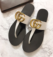 Wholesale Branded Women Leather Thong Flat Sandal Fashion Lady leather Double Hardware Leather Sole Slipper Chic Girl Flip Flop