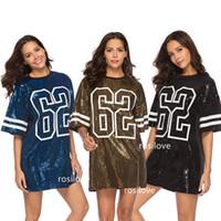 kore tarzı kadın gömlekleri toptan satış-2019 Kadınlar Uzun Tasarım Tops T-Shirt Yaz Payetli Elbise Kore tarzı Seksi Gevşek Hip-Hop T-Shirt Günlük Elbiseler Payetli elbise