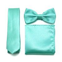 Wholesale mens tuxedo bow tie resale online - Mens Plain Ties Bowties Pocket Square Set Women Tuxedo Party Wedding Neckties Butterfly Shiny Bow Tie