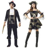 cadılar bayramı için kadın kostümleri toptan satış-Parti Cosplay Sahne Kostüm Cadılar Bayramı Tema Cos Kostüm Yetişkin Erkek kadın Asil Korsan Kaptan Cosplay Giyim Seti 06