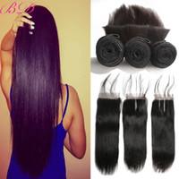 doğal saç uzatma fiyatları toptan satış-Çok Popüler 8A Brezilyalı Düz İnsan Saç 3 Demetleri Ile 1 Dantel Kapatma Doğal Renk Toptan Fiyat Düz Bakire Saç Uzantıları