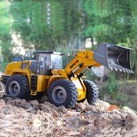 ingrosso trattori in metallo-Huina 583 1583 10 canali completo di controllo remoto del caricatore frontale trattore da costruzione, full metal bulldozer giocattolo scala 1:14